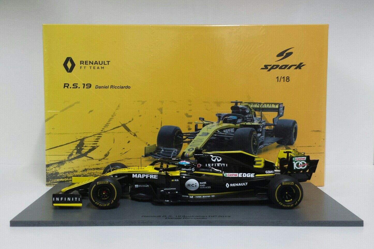 SPARK 1/18 MODELLINO DIECAST AUTO F1 RENAULT R.S.19 RICCIARDO GP AUSTRALIA 2019