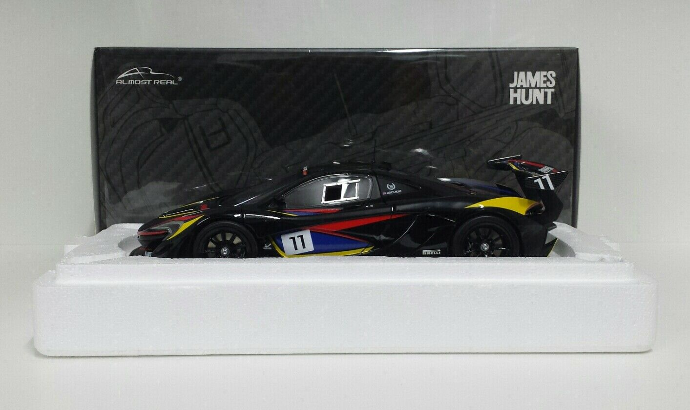 ALMOST REAL 1/18 MODELLINO AUTO MCLAREN GTR JAMES HUNT METALLO APRIBILE DIECAST