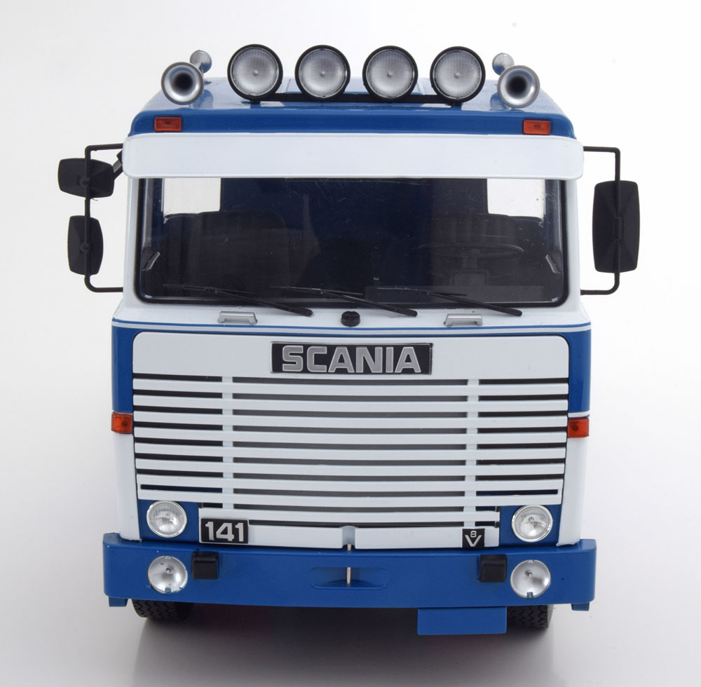MODELLINO CAMION DIECAST SCALA 1/18 SCANIA LBT 141 WHITE BLUE 1976 ROAD KINGS NEW