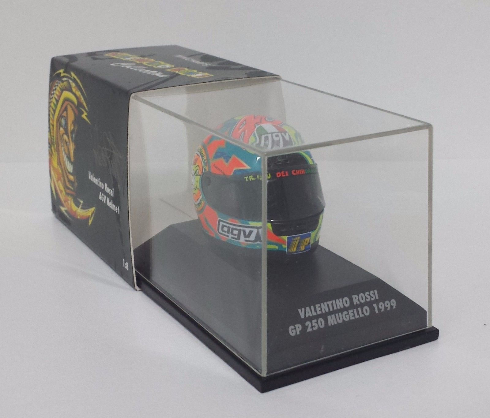 MINICHAMPS VALENTINO ROSSI AGV CASCO HELMET 1/8 WORLD CHAMPION GP MUGELLO 1999