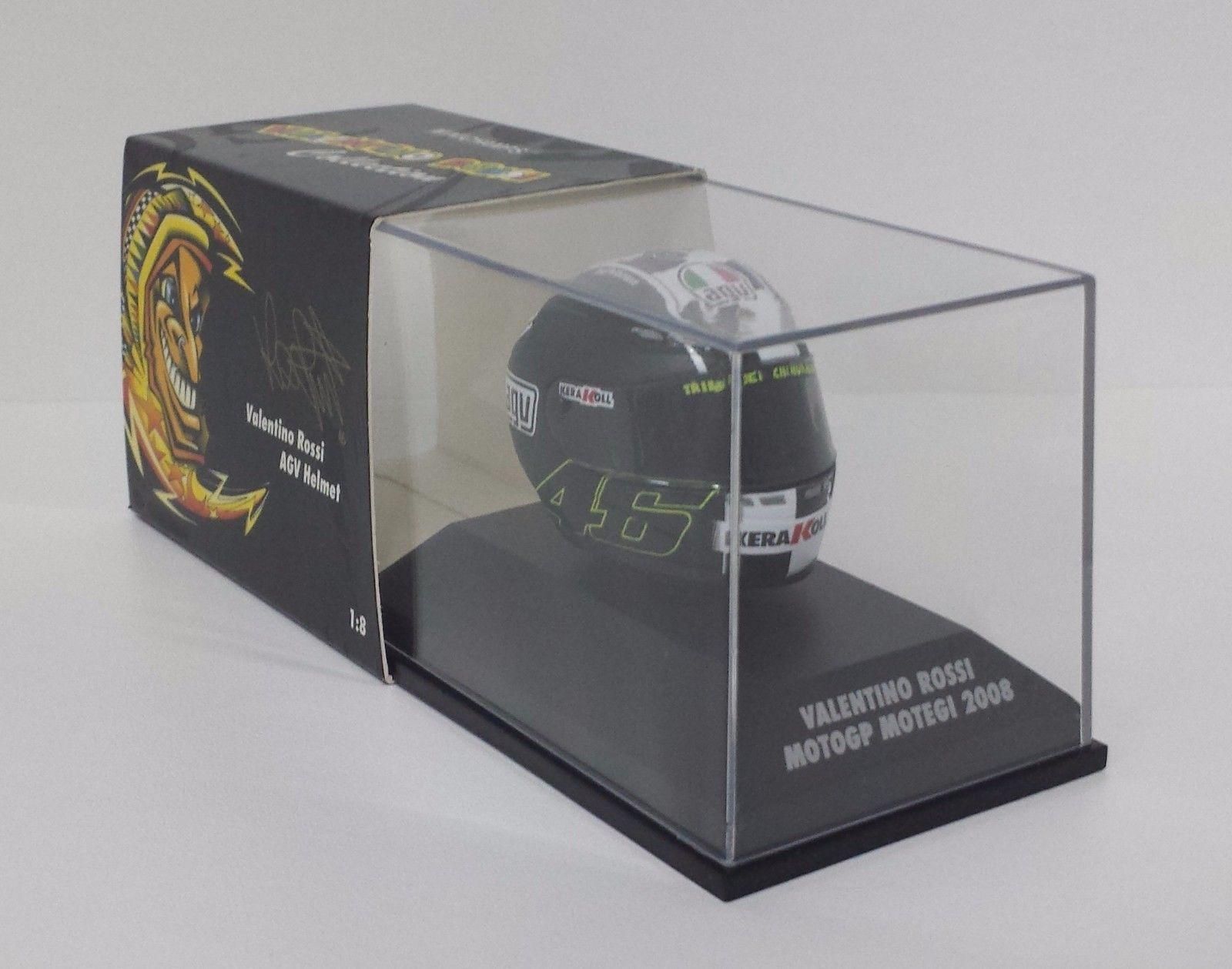 MINICHAMPS VALENTINO ROSSI AGV CASCO HELMET 1/8 W.CHAMPION MOTOGP MOTEGI 2008