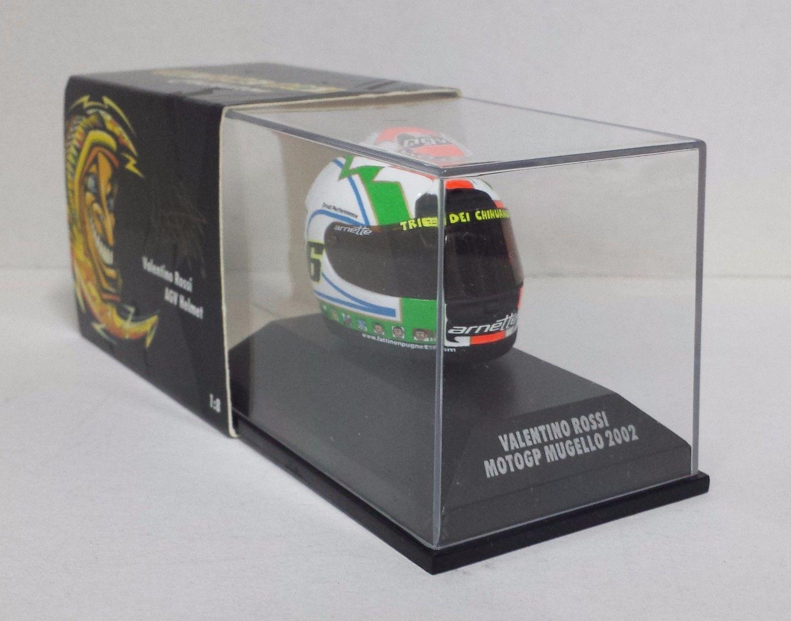 MINICHAMPS VALENTINO ROSSI MODEL AGV HELMET 1/8 MOTO GP MUGELLO 2002