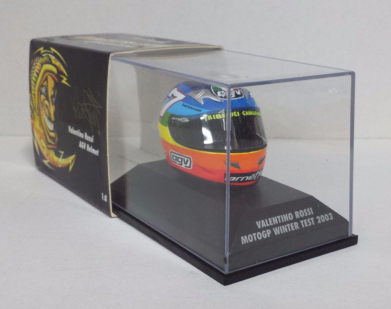 1:8 AGV Minichamps Valentino Rossi Helmet Casco Moto GP Winter Test 2003 NEW