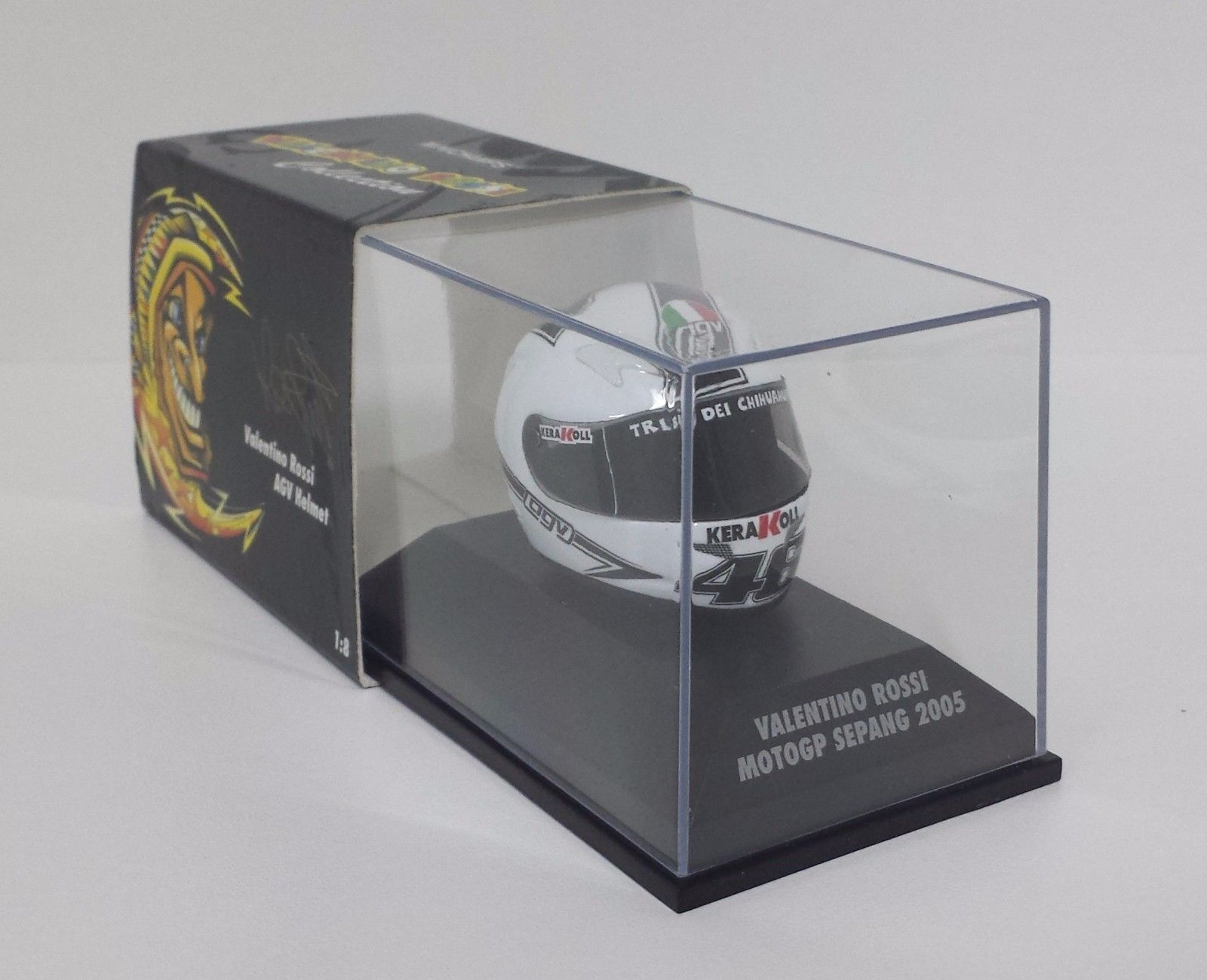MINICHAMPS VALENTINO ROSSI AGV CASCO HELMET 1/8 WORLD CHAMPION GP SEPANG 2005