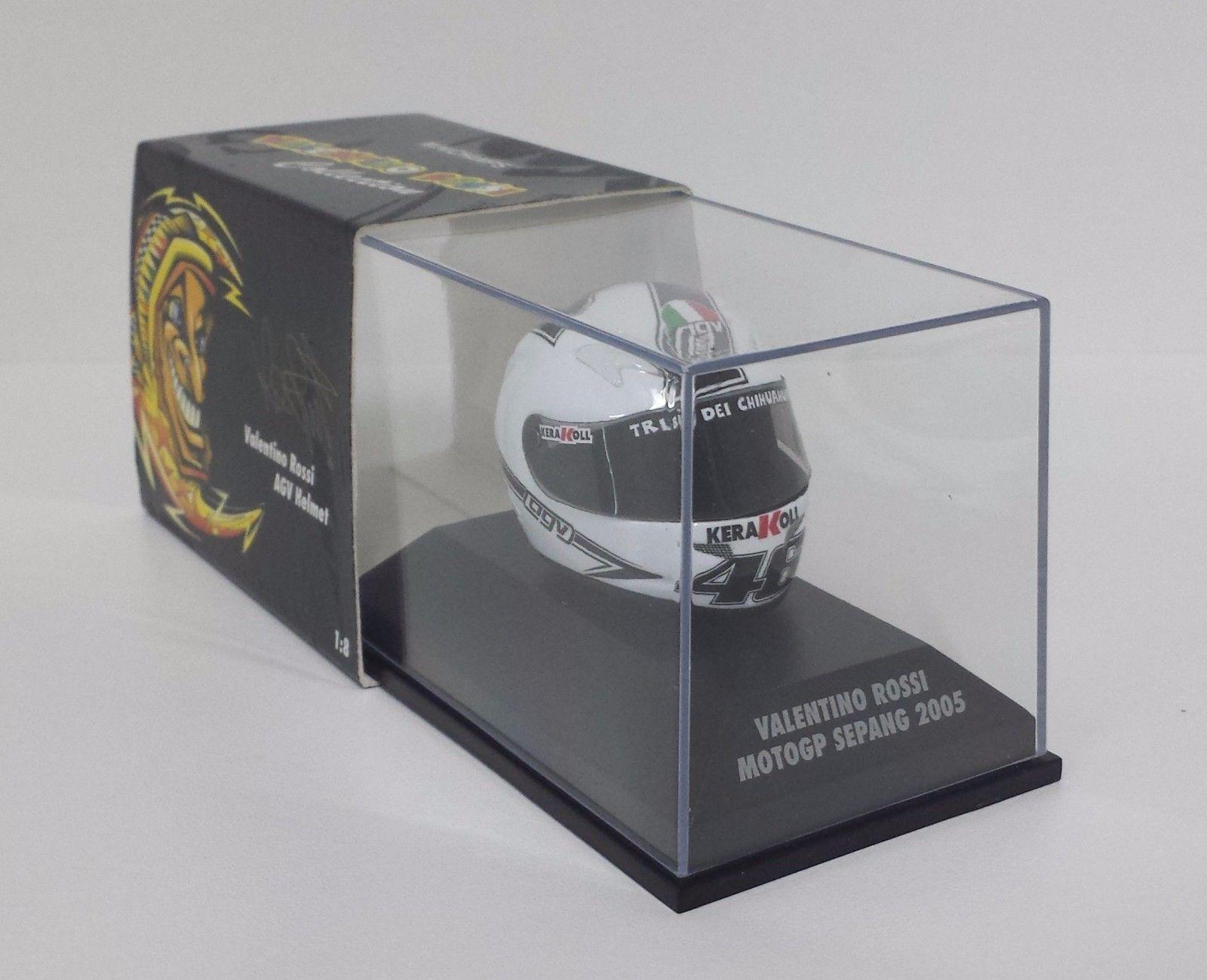 MINICHAMPS VALENTINO ROSSI AGV CASCO HELMET 1/8 WORLD CHAMPION GP SEPANG 2005