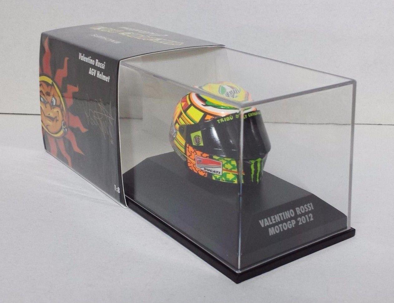 MINICHAMPS VALENTINO ROSSI MODELLINO AGV CASCO HELMET 1/8 MOTO GP 2012 DUCATI