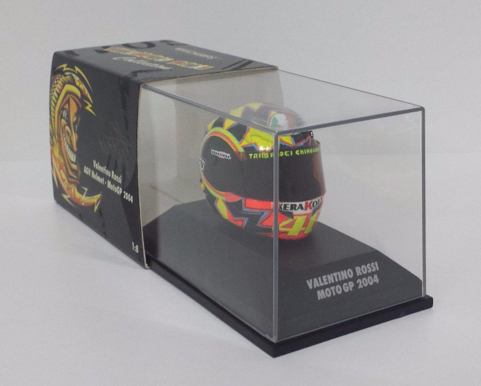 MINICHAMPS VALENTINO ROSSI MODELLINO AGV CASCO HELMET 1/8 MOTO GP 2004 NEW RARE