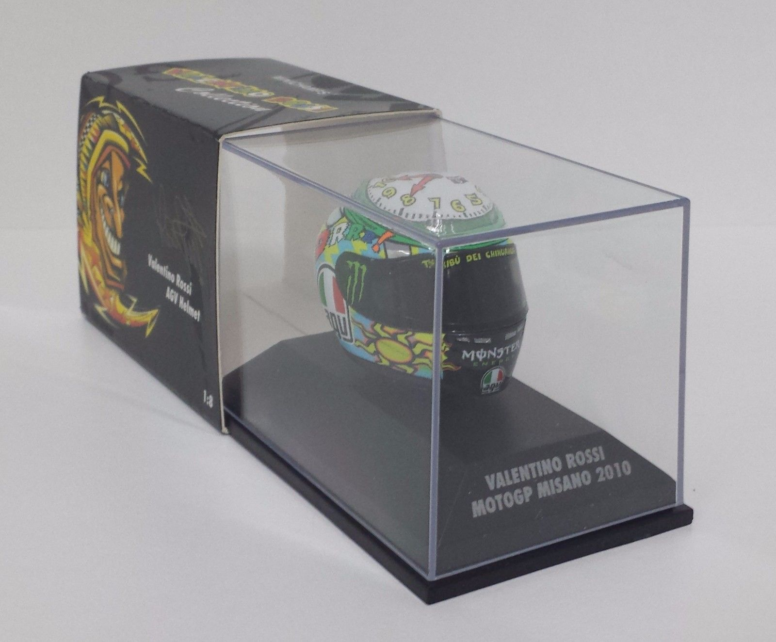 MINICHAMPS VALENTINO ROSSI AGV CASCO HELMET 1/8 CLOCK ARTWORK MOTOGP MISANO 2010