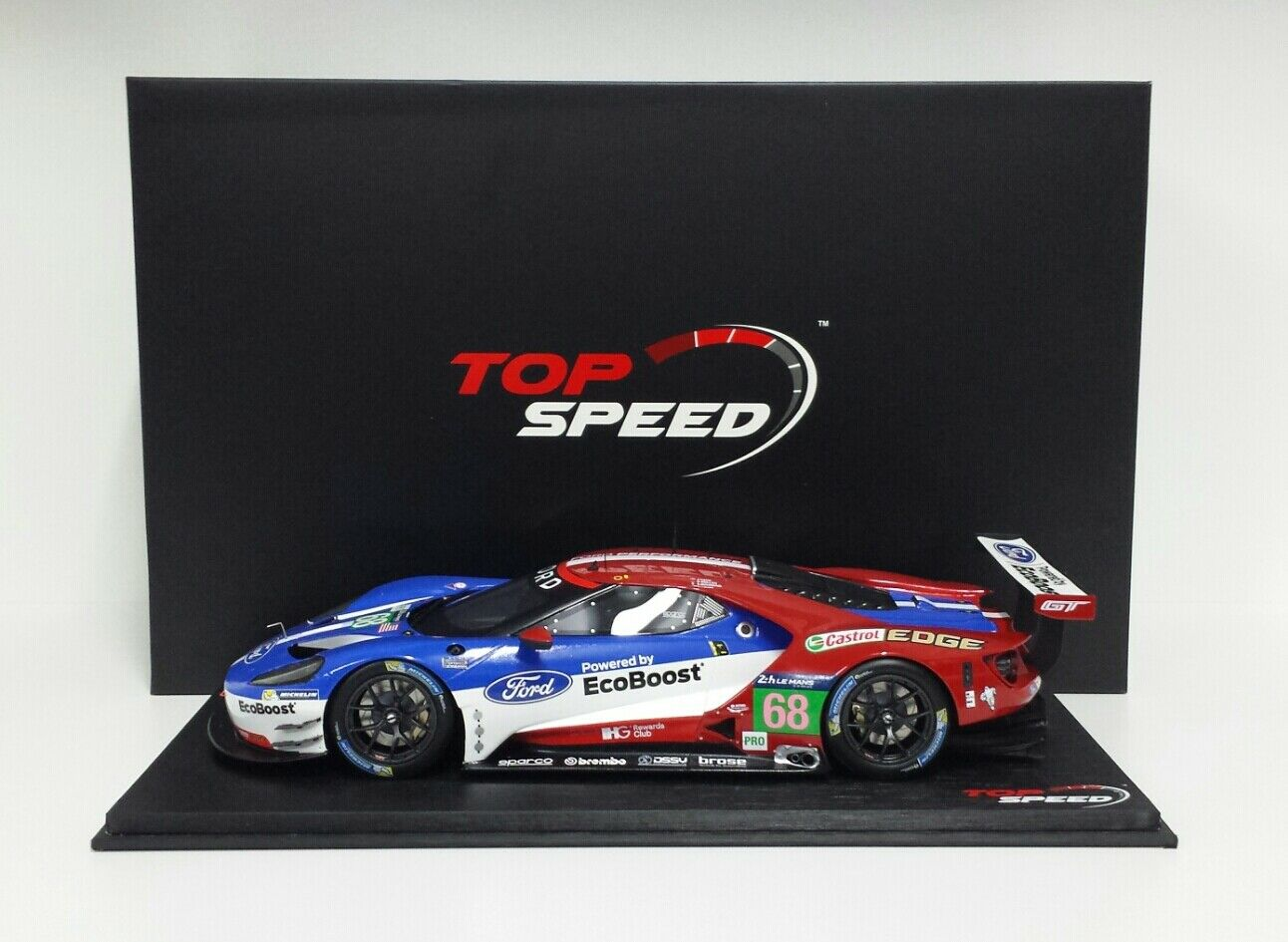 TSM TOP SPEED MODELLINO AUTO DA CORSA 1/18 FORD GT TEAM GANASSI LE MANS 2016 NEW