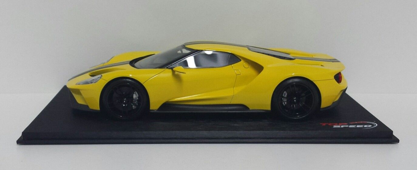 TSM TOP SPEED MODELLINO AUTO SPORTIVA 1/18 FORD GT GIALLO NERO LOS ANGELES 2015