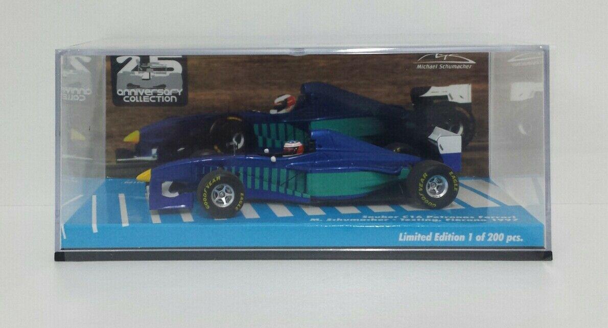 MINICHAMPS 1/43 MODELLINO AUTO F1 M.SCHUMACHER SAUBER FERRARI TEST FIORANO 1997