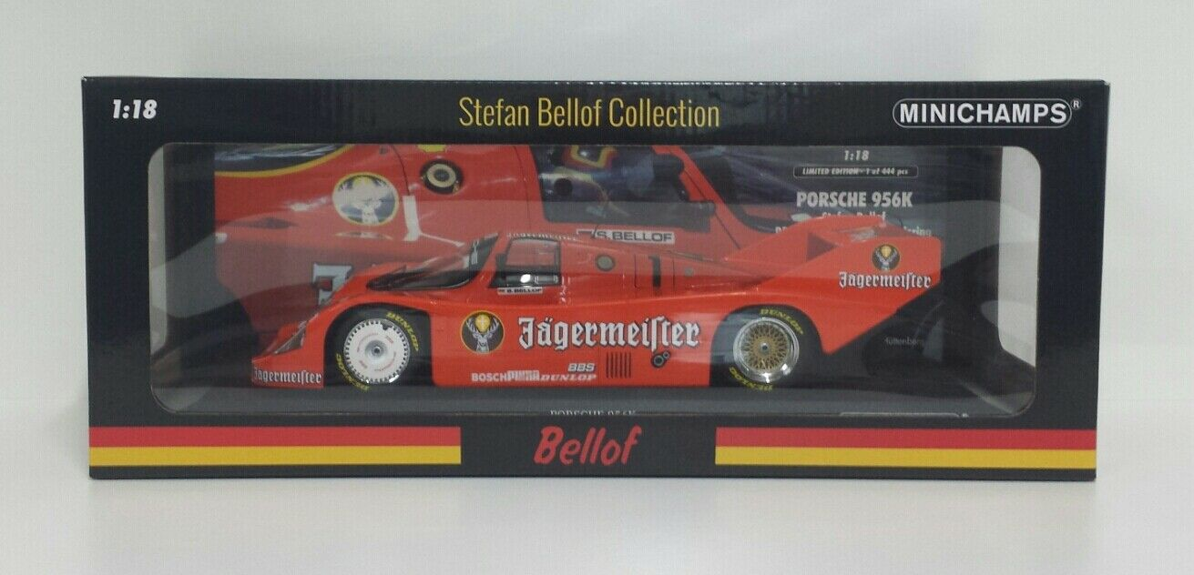 MINICHAMPS 1/18 S.BELLOF MODEL CAR PORSCHE 956 K 200 MIGLIA NORISRING 1984