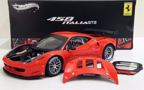 HOT WHEELS ELITE 1/18 FERRARI 458 ITALIA GT2 LAUNCH VERSION 2011 MATTEL X2860