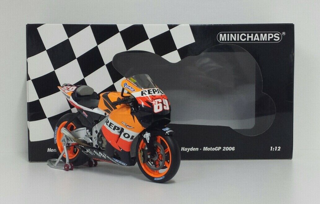 MINICHAMPS 1/12 MODELLINO MOTO DIE CAST HONDA HRC NICKY HAYDEN MOTOGP WORLD CHAMPION 2006 RARE