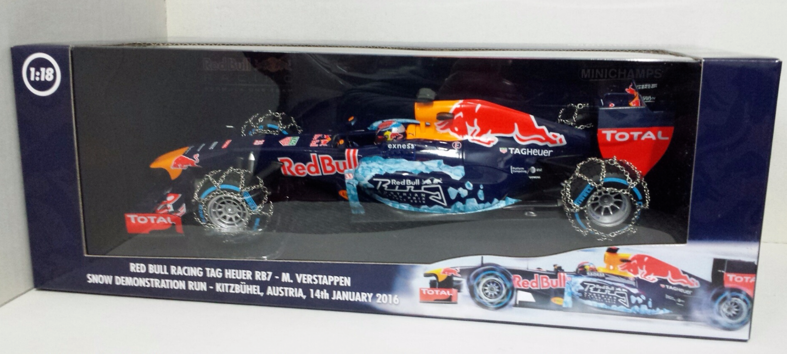 MINICHAMPS 1/18 MAX VERSTAPPEN RED BULL RB7 SNOW DEMO RUN KITZBUHEL 2016 L.E NEW