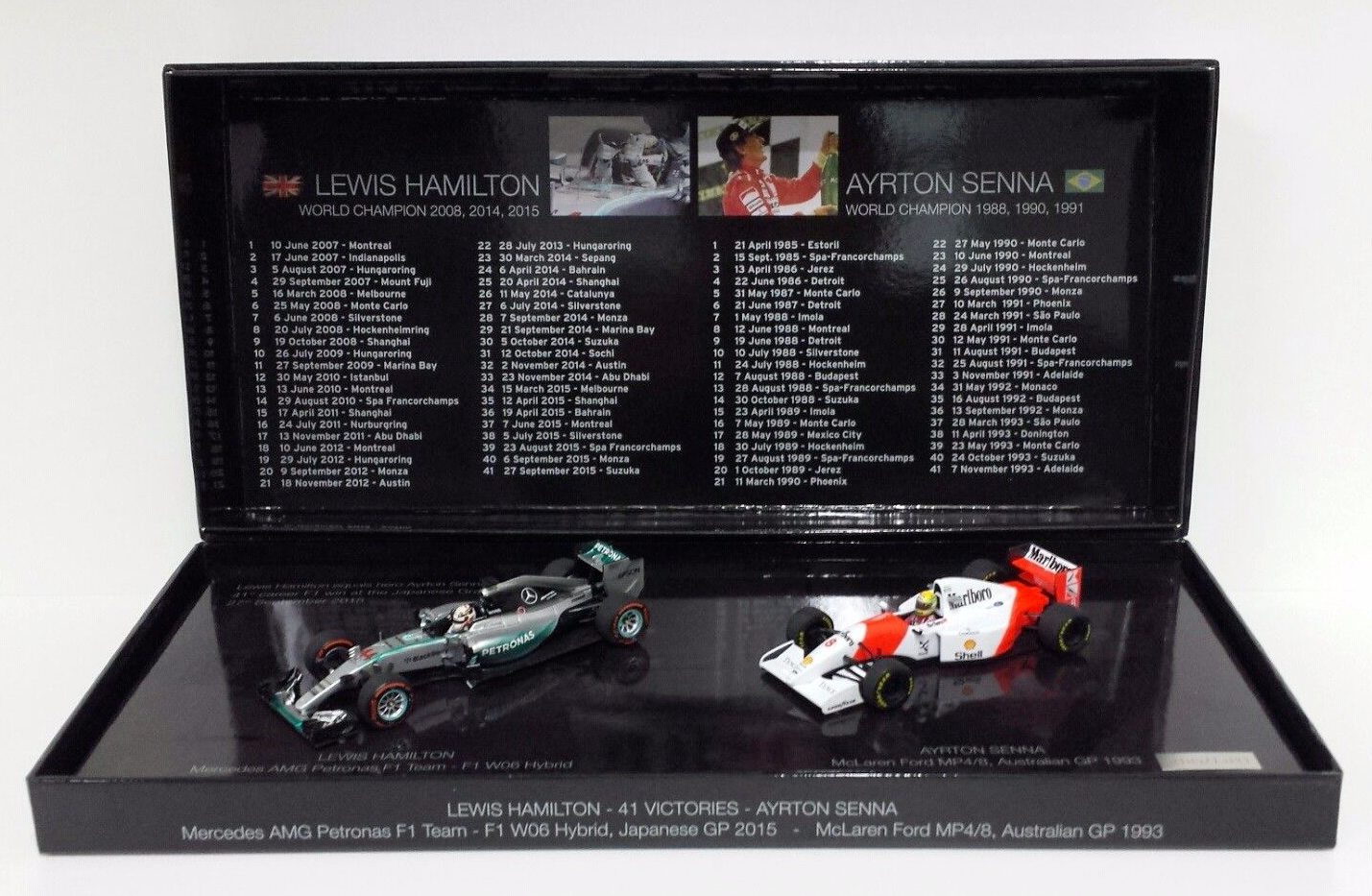 MINICHAMPS 1/43 F1 SET 41 GP VITTORIE IN CARRIERA LEWIS HAMILTON JAPAN 2015 & AYRTON SENNA AUSTRALIAN 1993