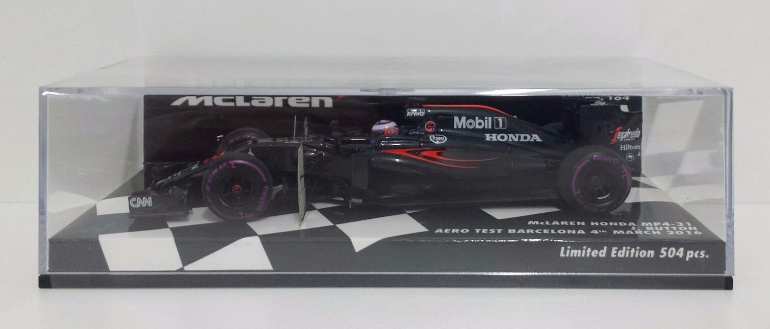 MINICHAMPS 1/43 JENSON BUTTON MCLAREN HONDA MP4-31 AERO TEST BARCELONA 2016 NEW