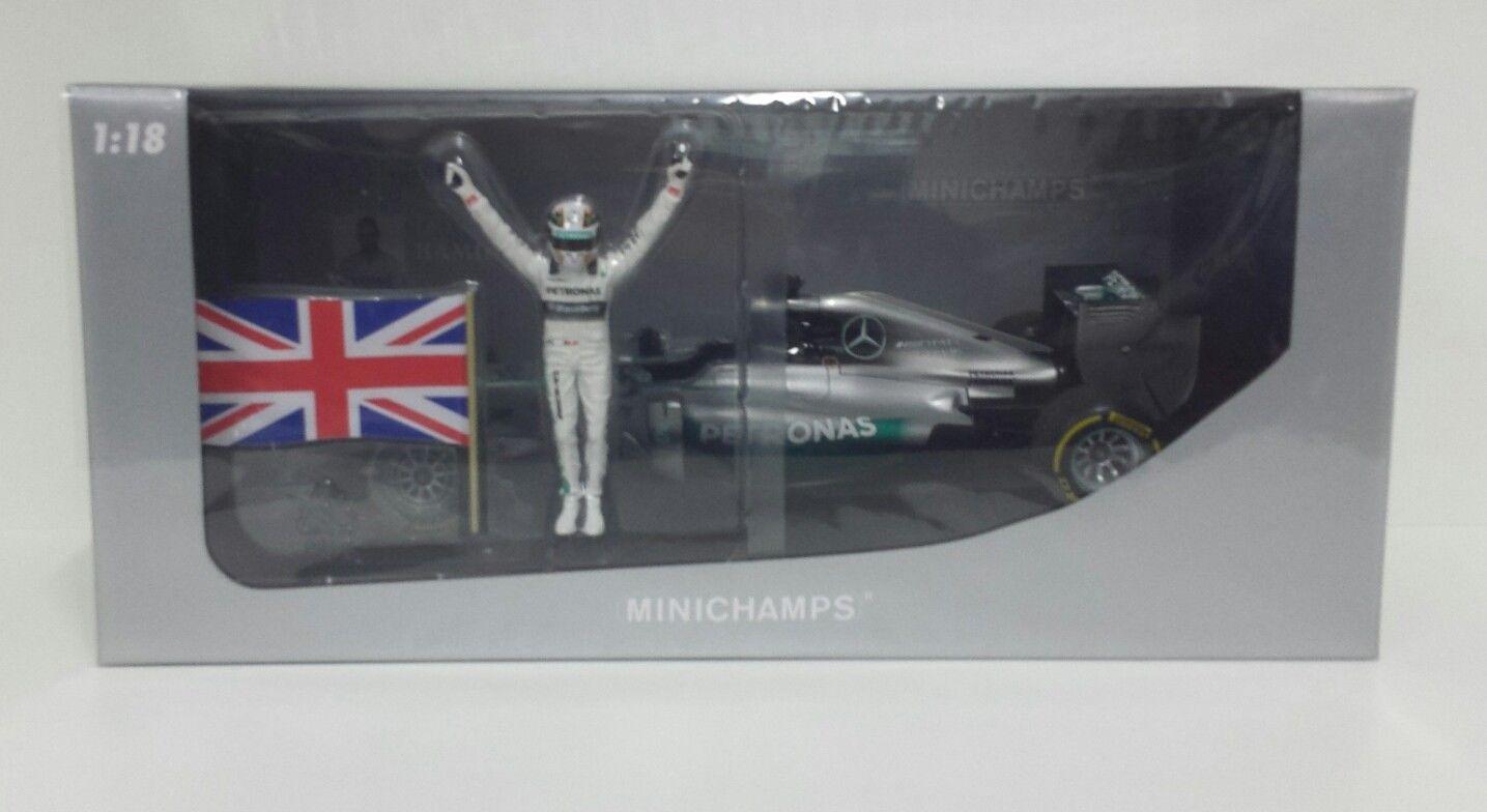 MINICHAMPS LEWIS HAMILTON 1/18 MERCEDES F1 WINNER GP ABU DHABI 2014 WITH FIGURE