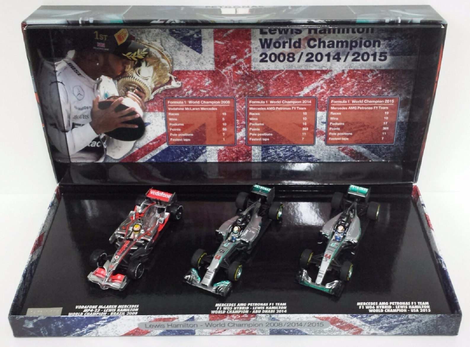MINICHAMPS LEWIS HAMILTON 1/43 TRIPLE SET WORLD CHAMPION F1 2008/2014/2015 NEW