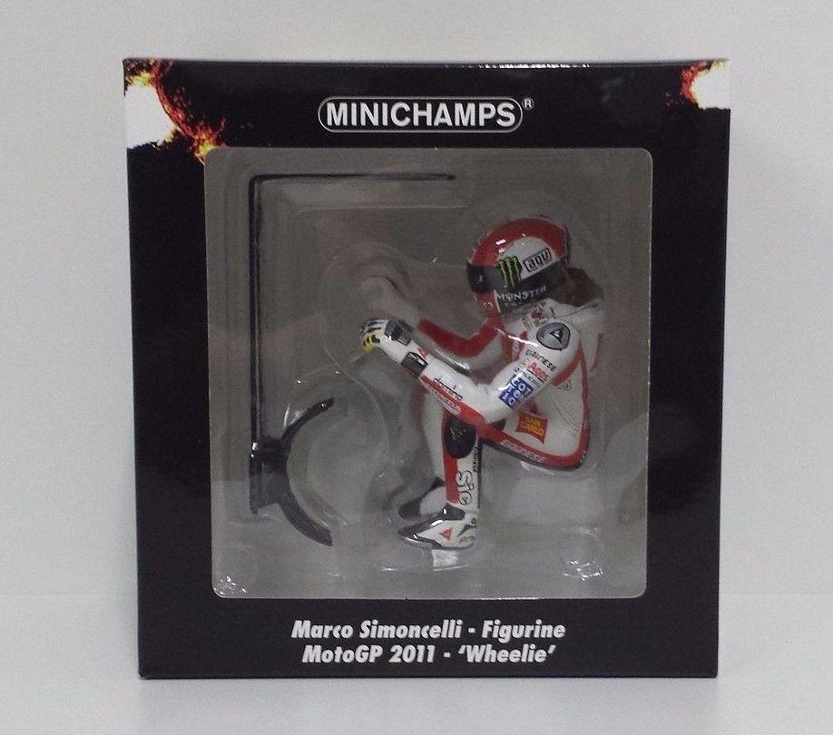 MINICHAMPS MARCO SIMONCELLI 1/12 - FIGURINE MOTOGP 2011 -´WHEELIE´ L.E.1158 pcs.