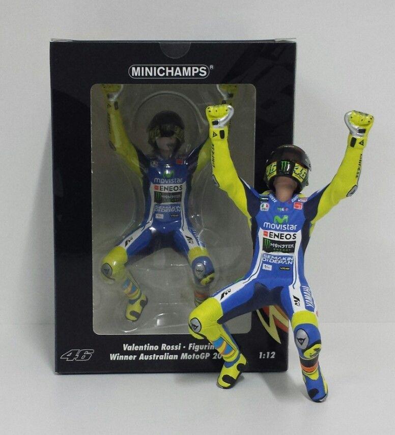 MINICHAMPS VALENTINO ROSSI 1/12 FIGURA YAMAHA MOTOGP WINNER GP AUSTRALIA 2014 NEW
