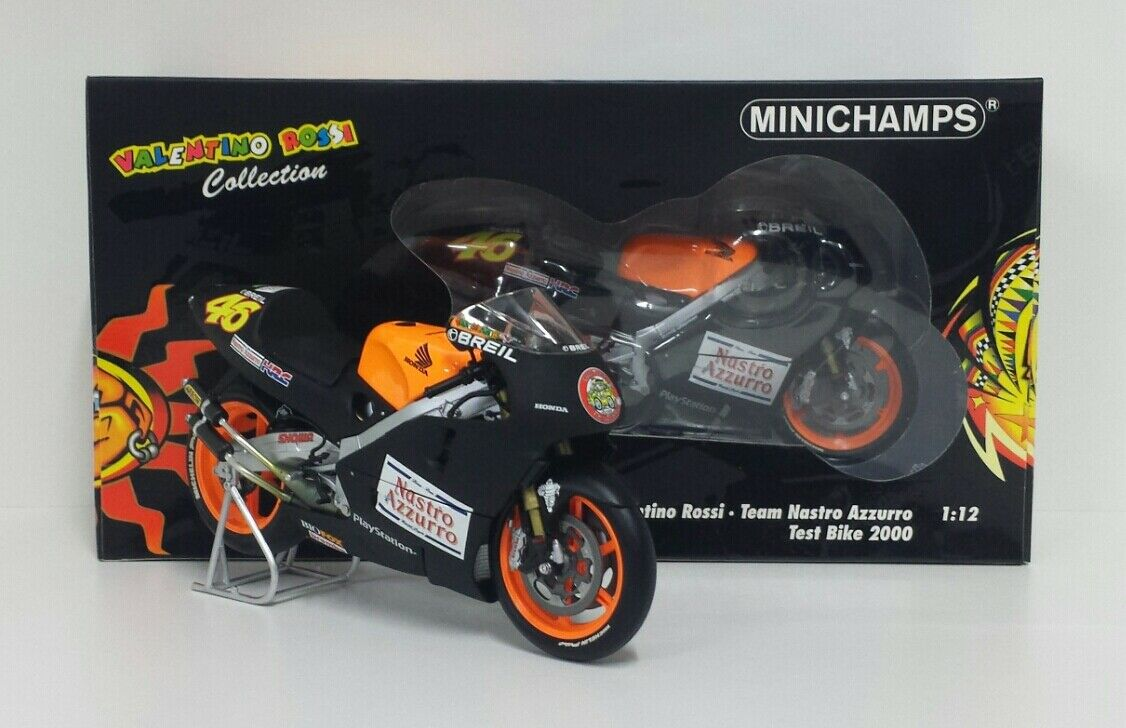 MINICHAMPS VALENTINO ROSSI 1/12 HONDA GP 500 TEST BIKE 2000 L.E. 9999 pcs.