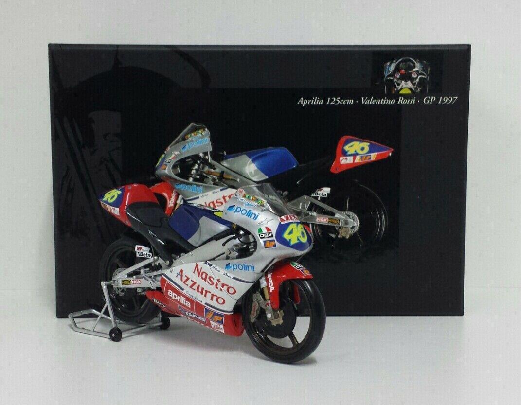 MINICHAMPS VALENTINO ROSSI 1/12 MODELLINO APRILIA RS 125 GP 1997 WORLD CHAMPION NEW RARE