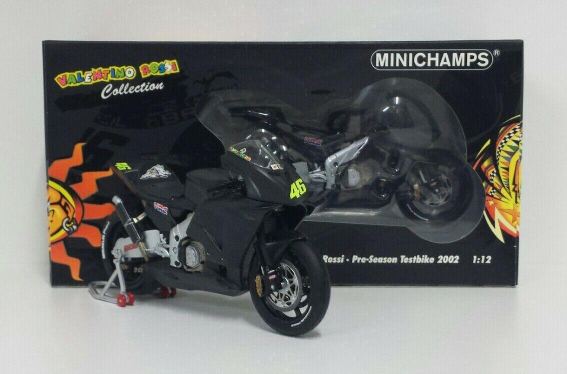MINICHAMPS VALENTINO ROSSI 1/12 MODELLINO HONDA MOTOGP TEST BIKE 2002 NEW