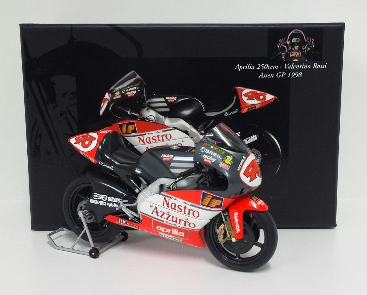 MINICHAMPS VALENTINO ROSSI 1/12 MODELLINO MOTO APRILIA RSW 250cc WINNER GP ASSEN 1998 RARE NEW