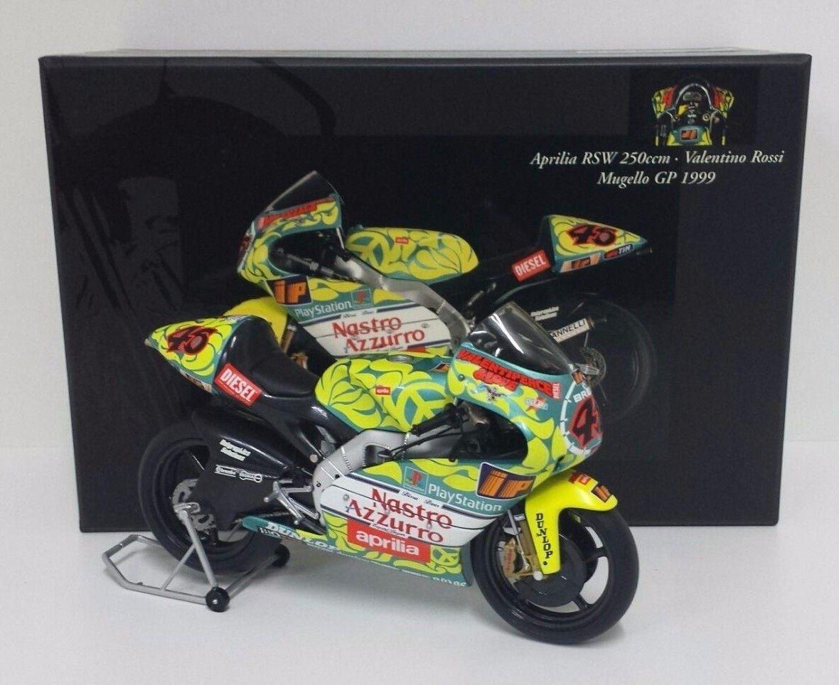 MINICHAMPS VALENTINO ROSSI 1/12 MODEL BIKE APRILIA RSW 250cc GP MUGELLO 1999 RARE NEW
