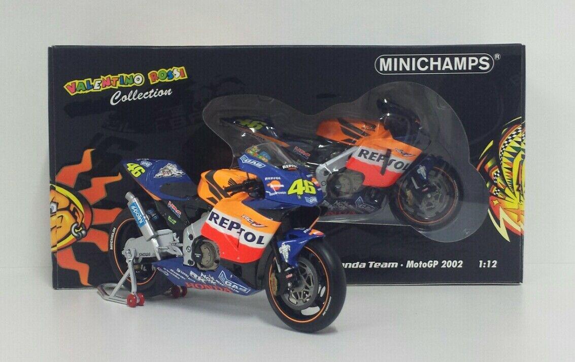 MINICHAMPS VALENTINO ROSSI 1/12 MODELLINO MOTO HONDA RC 211V 2002 CON SCATOLA SOLE / LUNA RARE