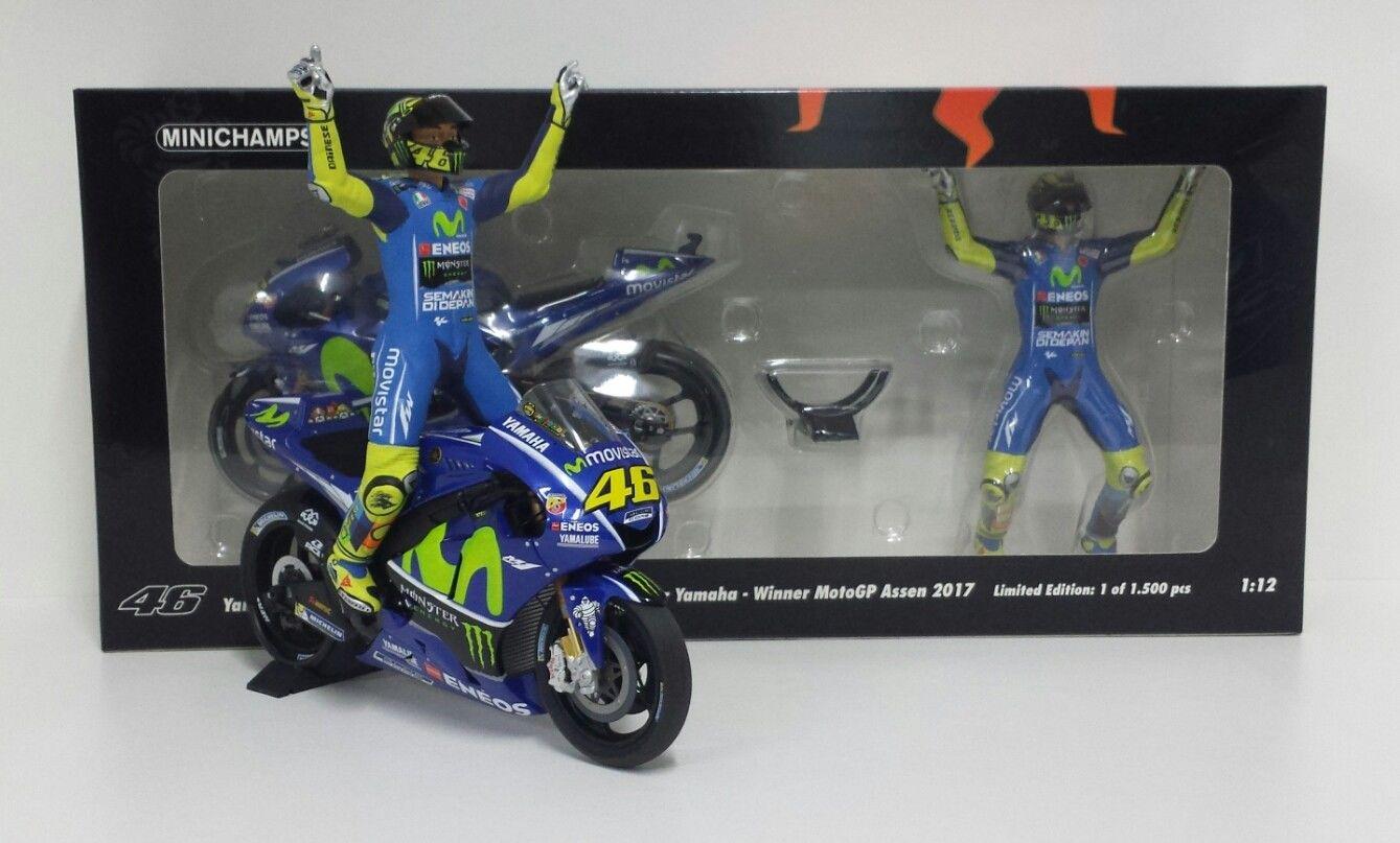 MINICHAMPS VALENTINO ROSSI 1/12 SET YAMAHA YZR M1 MOVISTAR WINNER GP ASSEN 2017 MOTOGP CON FIGURA NEW
