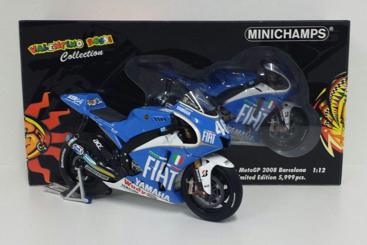 MINICHAMPS VALENTINO ROSSI 1/12 YAMAHA GP BARCELLONA 2008 L.E.5999 PCS MEGA RARE