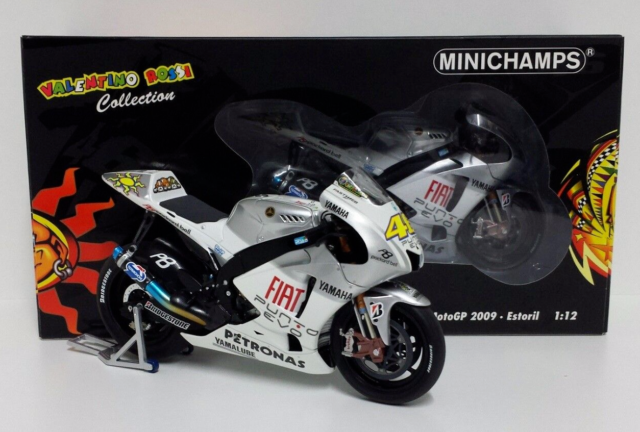 MINICHAMPS VALENTINO ROSSI 1/12 YAMAHA M1 GP ESTORIL 2009 LIMITED EDITION RARE