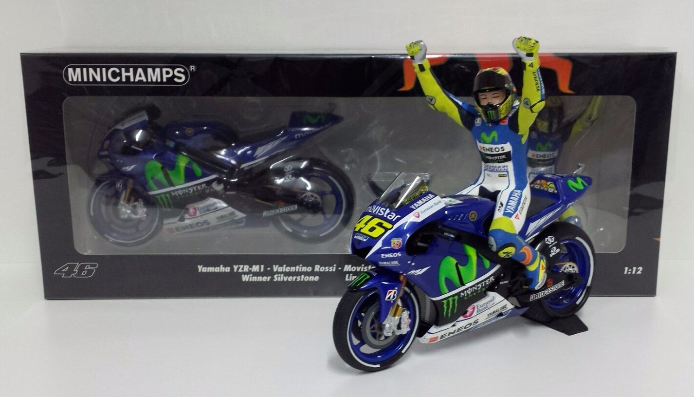 MINICHAMPS VALENTINO ROSSI 1/12 YAMAHA M1 MOTOGP 2015 GP SILVERSTONE WITH FIGURE