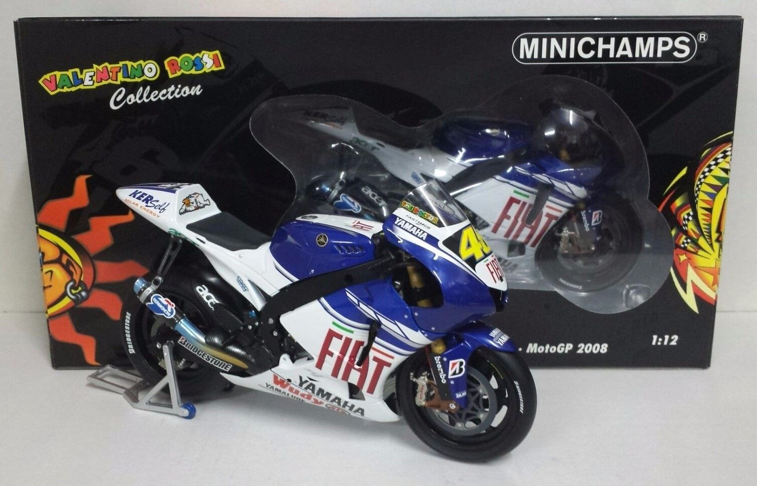 MINICHAMPS VALENTINO ROSSI 1/12 YAMAHA MOTOGP 2008 WORLD CHAMPION LIMITED EDITION RARE
