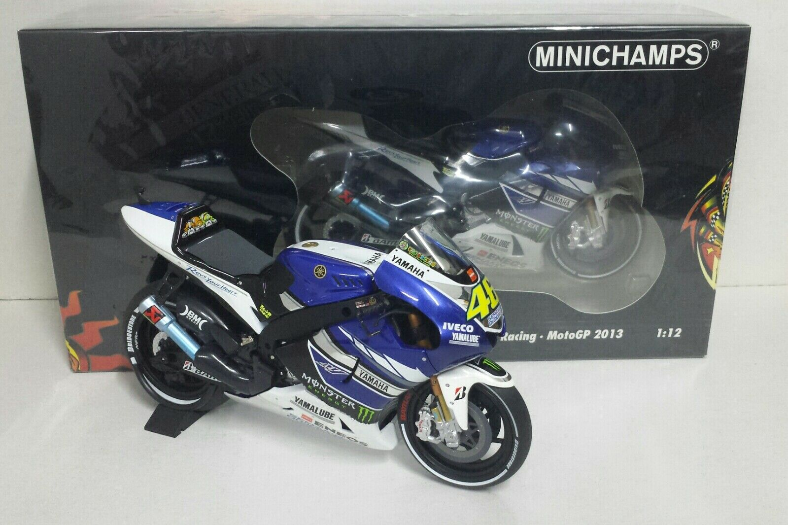 MINICHAMPS VALENTINO ROSSI 1/12 YAMAHA YZR M1 MOTOGP 2013 L.EDITION NEW