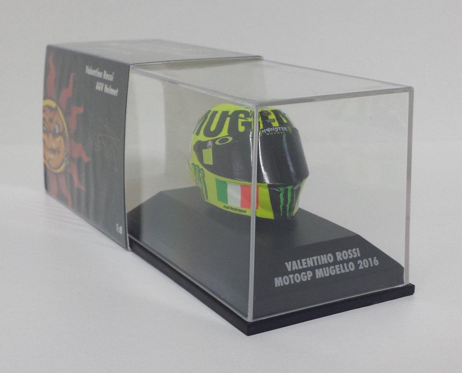 MINICHAMPS VALENTINO ROSSI MODELLINO AGV CASCO HELMET 1/8 GP MUGELLO 2016 MOTOGP NEW