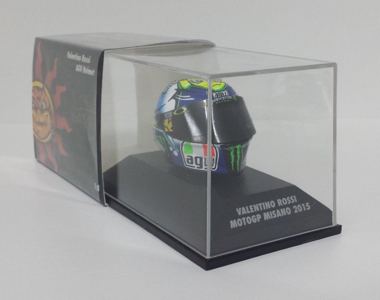MINICHAMPS VALENTINO ROSSI MODELLINO AGV CASCO HELMET 1/8 MOTOGP MISANO 2015 NEW