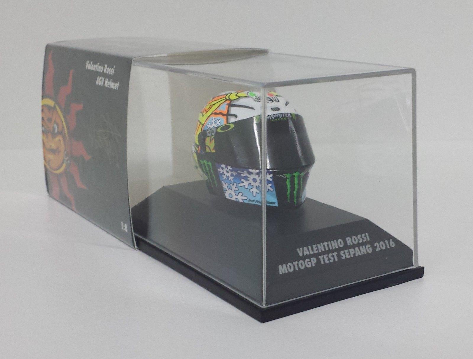 MINICHAMPS VALENTINO ROSSI MODELLINO AGV CASCO HELMET 1/8 TEST MOTOGP SEPANG 2016 NEW