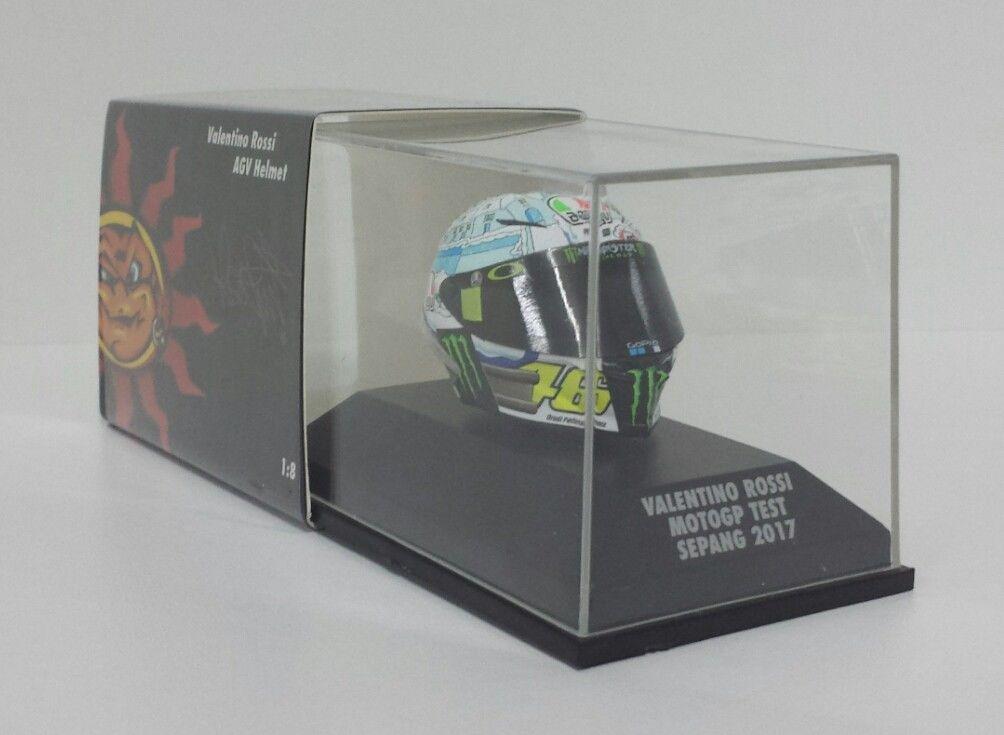 MINICHAMPS VALENTINO ROSSI MODELLINO AGV CASCO HELMET 1/8 YAMAHA MOTOGP TEST SEPANG 2017 NEW