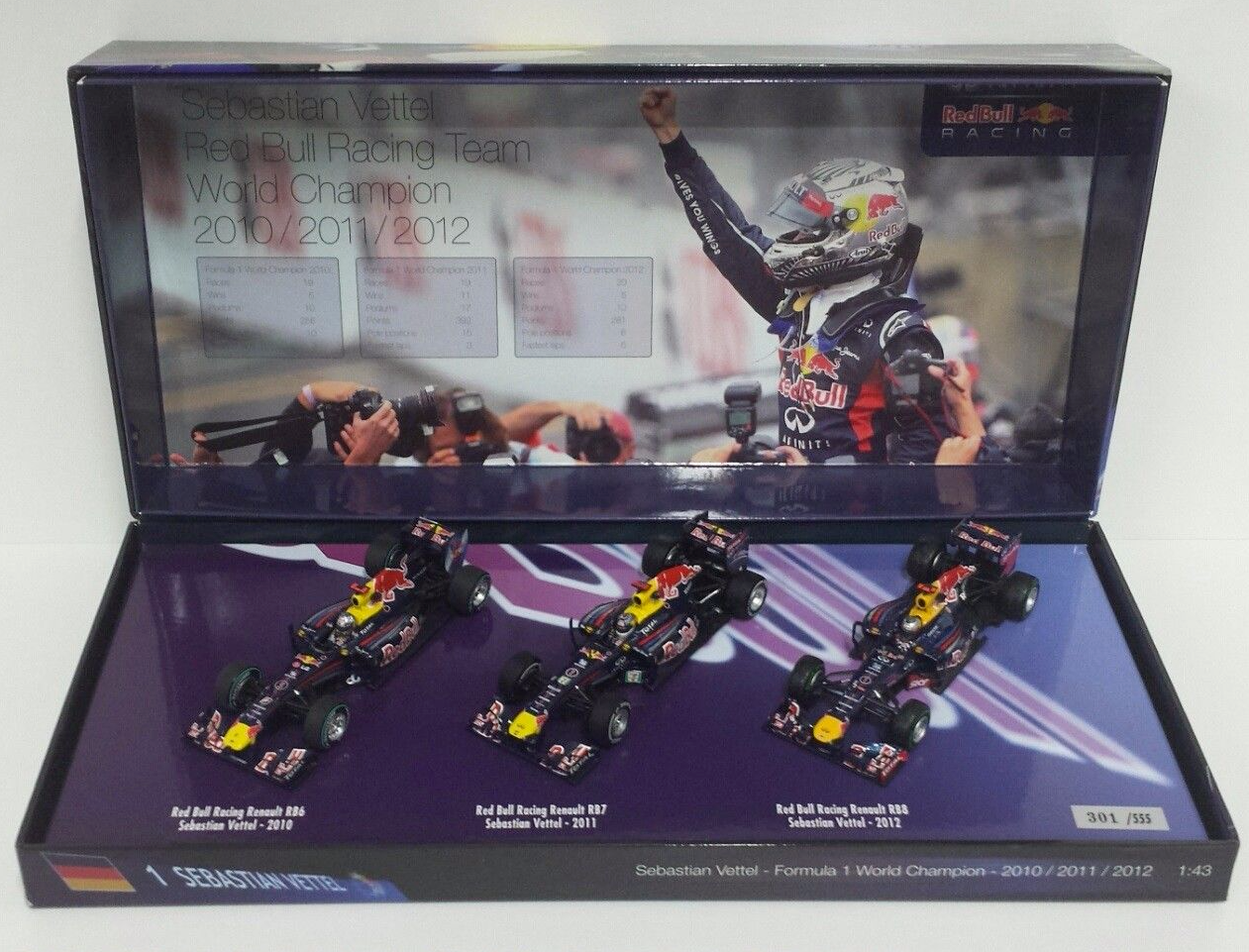 MINICHAMPS VETTEL 1/43 SET 3 TIMES WORLD CHAMPION RED BULL 2010-2011-2012 555pz
