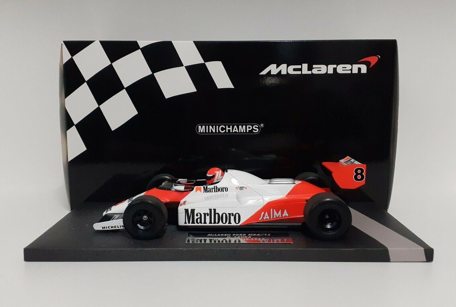 MODELLO AUTO FORMULA 1 MINICHAMPS 1:18 MCLAREN F1 FORD MP4/1C LAUDA 1983 DIECAST