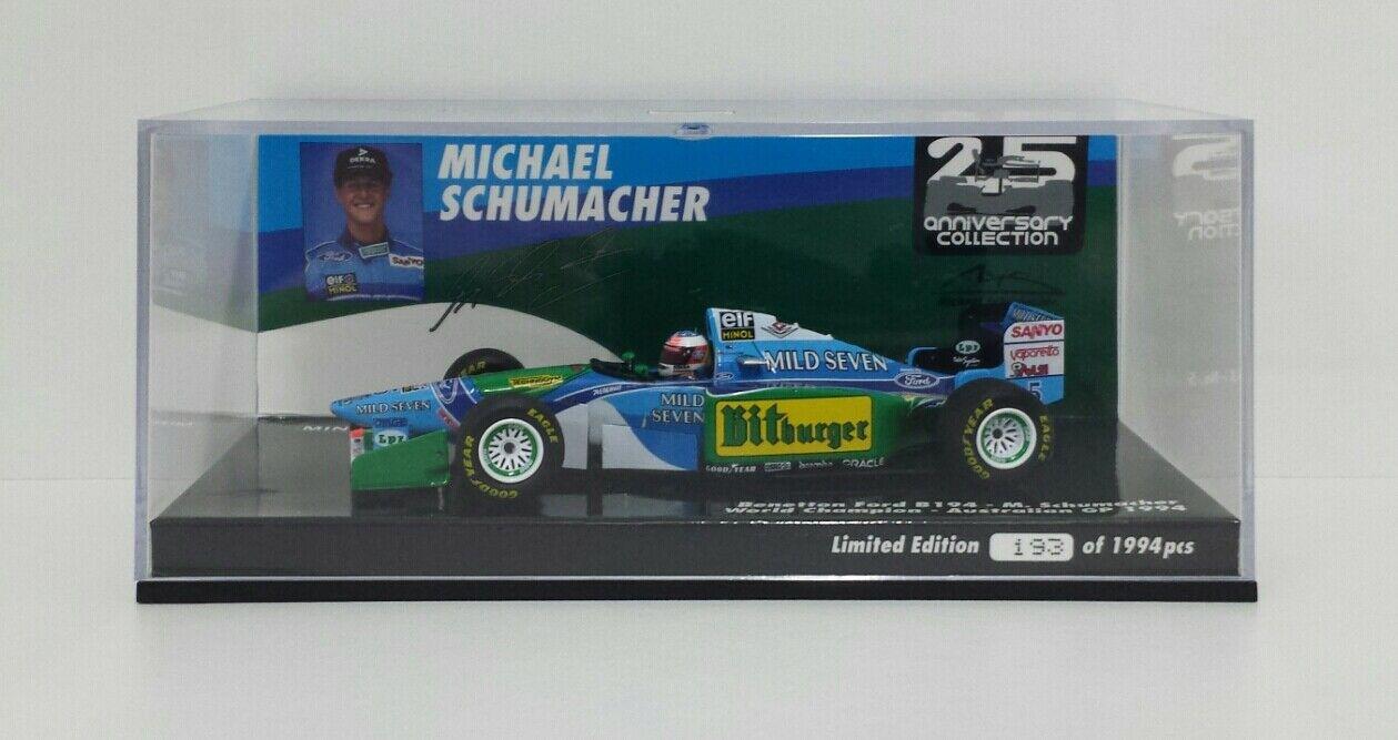 MINICHAMPS 1/43 MODELLINO AUTO DIE CAST F1 BENETTON FORD MICHAEL SCHUMACHER 1994