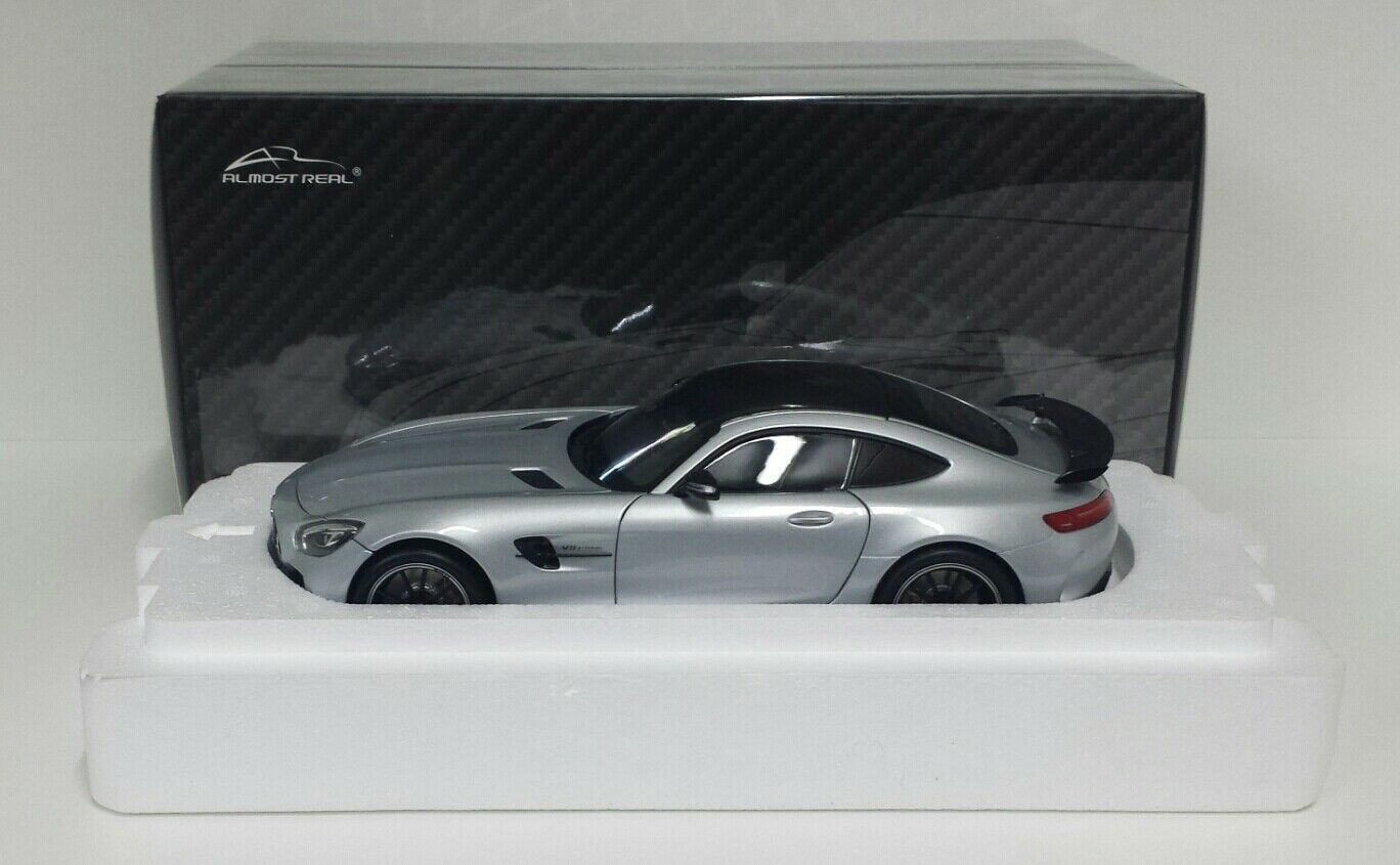 ALMOST REAL 1/18 MERCEDES AMG GTR 2017 SILVER MODELLINO DIECAST METALLO APRIBILE