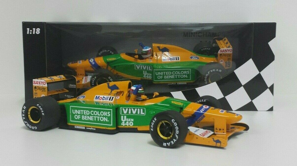 MINICHAMPS 1/18 MODELLO AUTO F1 BENETTON FORD SCHUMACHER GP GERMANY 1992 DIECAST