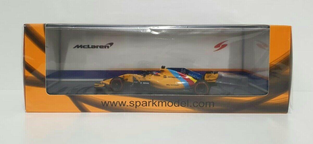 SPARK 1/43 MODELLINO AUTO F1 FERNANDO ALONSO McLAREN GP ABU DHABI 2018 LAST RACE S6069 NEW