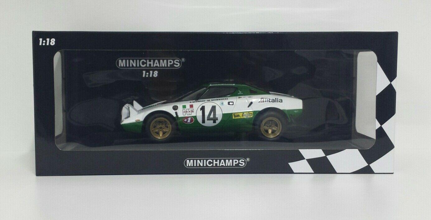 MINICHAMPS 1/18 MODELLINO AUTO RALLY LANCIA STRATOS ALITALIA MUNARI 1975 DIECAST