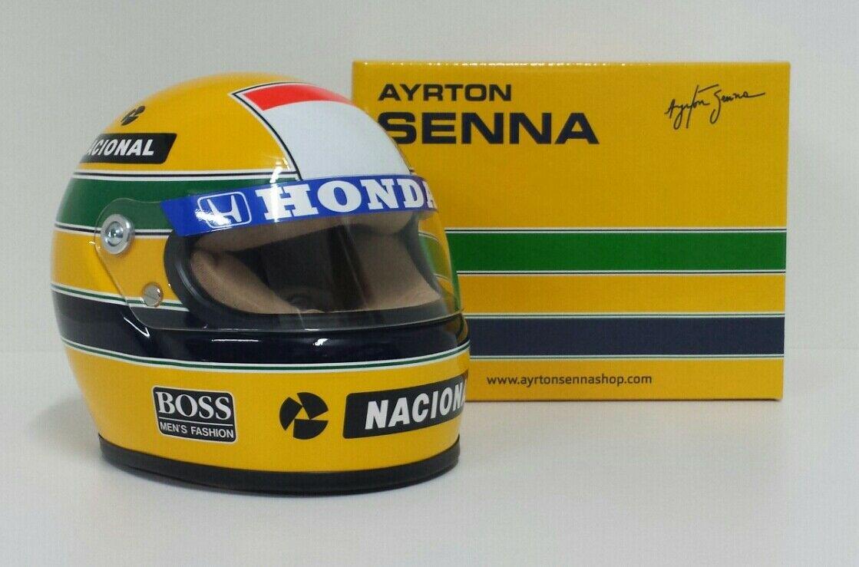 AYRTON SENNA MODELLINO MINIATURA CASCO HELMET 1/2 F1 WORLD CHAMPION 1988 DIECAST
