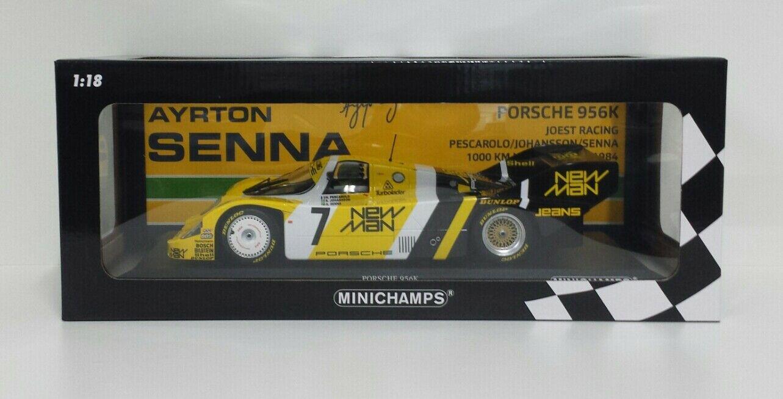 MINICHAMPS 1/18 AYRTON SENNA MODELLO AUTO PORSCHE 956 K NURBURGRING 1000 KM 1984